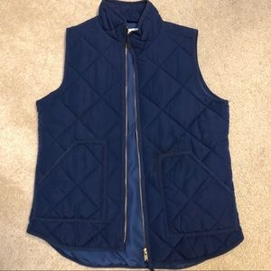 Navy J. Crew Quilted Vest - Small